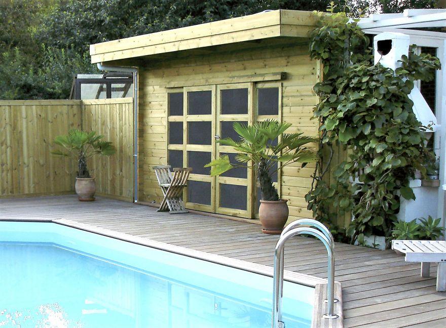 Abri de jardin en bois sur mesure de type chalet ou avec toit plat